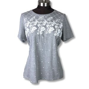 NWT Christopher Banks Grey Floral Embroidered Top